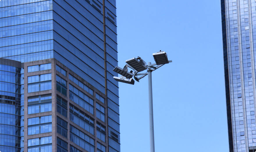 BBE LED high mast light HM6 were installed for crossing road lighting at Caitian Road, Shenzhen City.