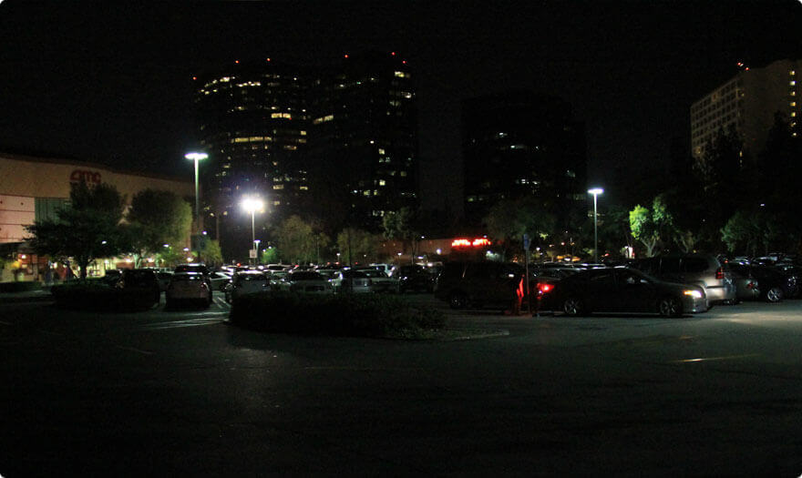 BBE LED Parking Lot Lights in one Mall, CA, USA