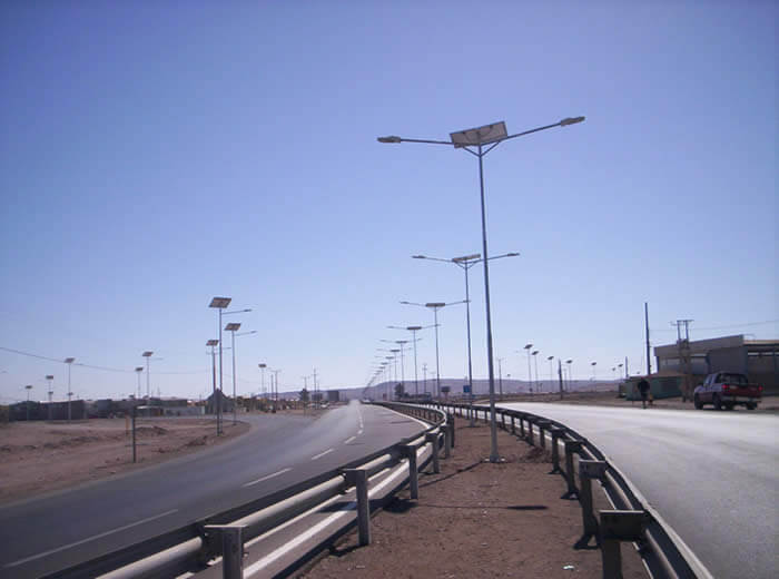 Solar and Wind Turbine LED Street Light, LU1 in University in Concepción, Chile