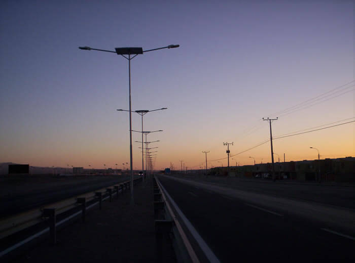 Solar andSolar and Wind Turbine LED Street Light, LU1 in University in Concepción, Chile